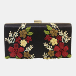 BOUQUET-EMBROIDERED CLUTCH