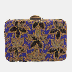 Floral-Embroidered Square Clutch