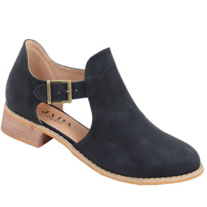 Jada ladies cut-out boot with brogue detail black