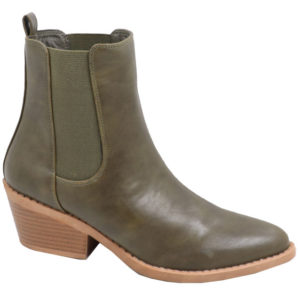 Jada ladies fashion boot with elastic gusset olive