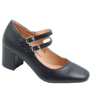 Tatazi Ladies double strap court Black