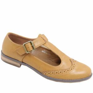 Jada Ladies T-bar PU Shoe Hazelnut