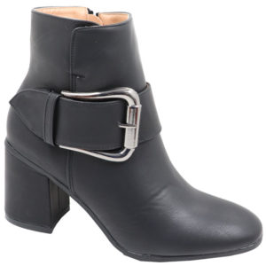 Jada Ladies Fashion PU Boot with buckle detail Black