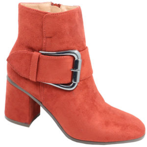 Jada Ladies Suede fashion boot with buckle detail rust