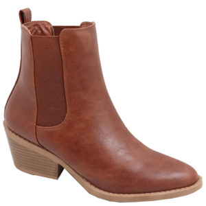 Jada ladies fashion boot with elastic gusset mid brown