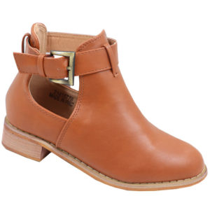 Jada kidz leather look side buckle bootie tan
