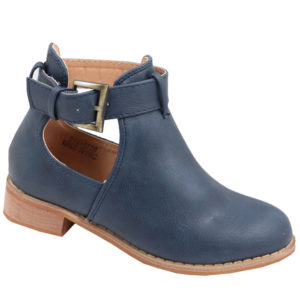 Jada kidz leather look side buckle bootie navy