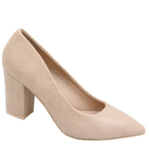 Jada Ladies PU Block Heel Court Dark beige