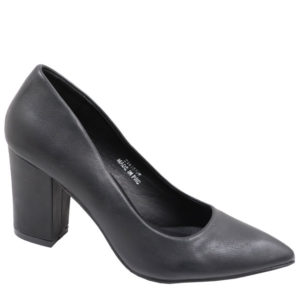 Jada Ladies PU Block Heel Court Black