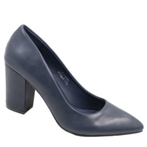 Jada Ladies PU Block Heel Court Navy