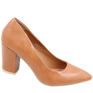 Jada Ladies PU Block Heel Court Tan