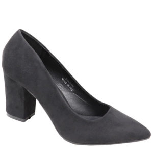 Jada Ladies Suede Block Heel Court Black