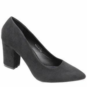 Jada Ladies Suede Block Heel Court Black