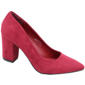 Jada Ladies Suede Block Heel Court Burgundy