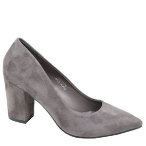 Jada Ladies Suede Block Heel Court Grey