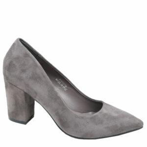 Jada Ladies Suede Block Heel Court Grey