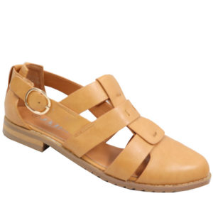 Jada Ladies PU strappy pump with buckle camel
