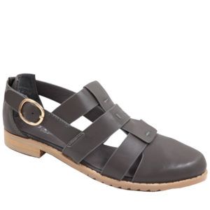 Jada Ladies PU strappy pump with buckle charcoal