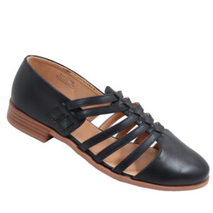 City Style Ladies Strappy Mocassin Black