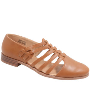 City Style Ladies Strappy Mocassin Toffee