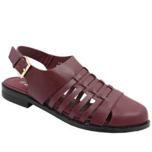 Jada Ladies closed front Fisherman Sandal Burgundy