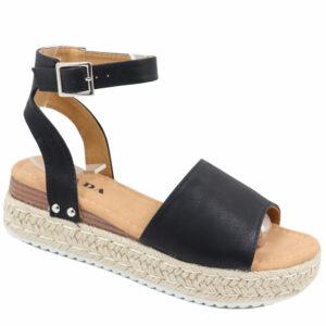 Jada Ladies Fashion Wedge Ankle Strap Sandal Black