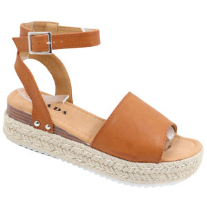 Jada Ladies Fashion Wedge Ankle Strap Sandal Tan