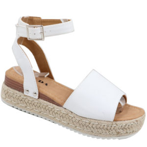 Jada Ladies Fashion Wedge Ankle Strap Sandal White
