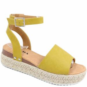 Jada Ladies Fashion Wedge Ankle Strap Sandal Mustard