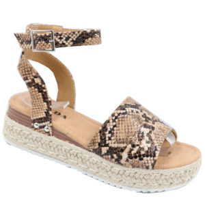 Jada Ladies Fashion Wedge Ankle Strap Sandal Camel Snake