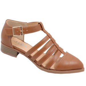 Jada Ladies PU closed back Strappy Sandal Toffee