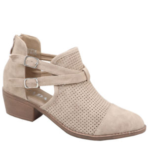 Jada Ladies pin punch ankle boot taupe