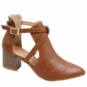 Jada Ladies Cross over Fashion block heel boot mid brown