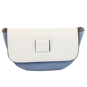 BLACKCHERRY BLUE AND WHITE HALF-MOON CROSS BODY BAG