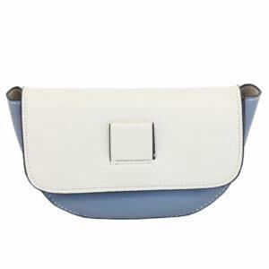 BLACKCHERRY BLUE AND WHITE HALF-MOON CROSS BODY BAG