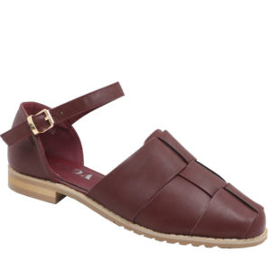 Jada Ladies Ankle Strap Shoe with Plaited Detail Burgundy