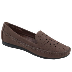 Spoiler Ladies Comfort Loafer with punch hole detail Choc Brown
