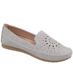 Spoiler Ladies Comfort Loafer with punch hole detail Light Grey