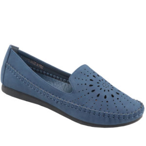 Spoiler Ladies Comfort Loafer with punch hole detail Navy
