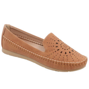 Spoiler Ladies Comfort Loafer with punch hole detail Tan
