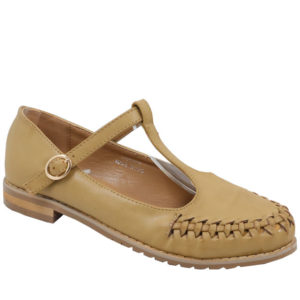 Jada Ladies T-bar Pu Fashion Shoe Beige
