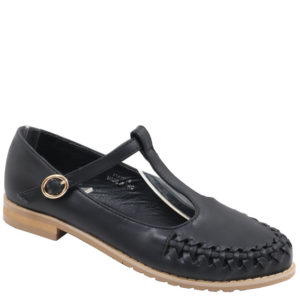 Jada Ladies T-bar Pu Fashion Shoe Black