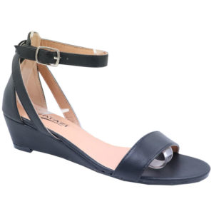 Tatazi Ladies PU Low Wedged Sandal Black