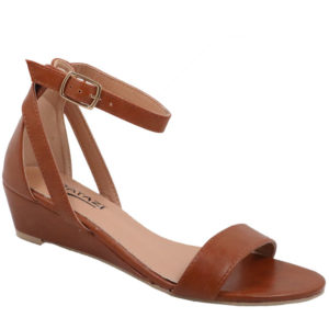 Tatazi Ladies PU Low Wedged Sandal Tan