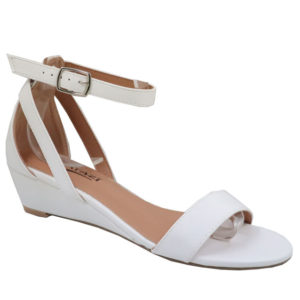 Tatazi Ladies PU Low Wedged Sandal White