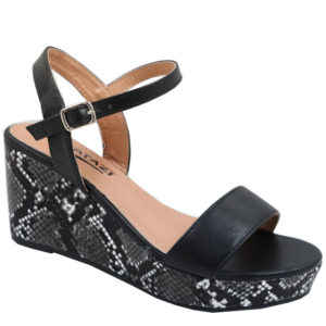 Tatazi Ladies Snake Wedge Sandal Black