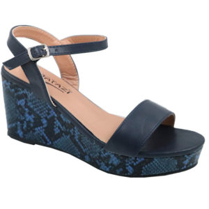 Tatazi Ladies Snake Wedge Sandal Navy