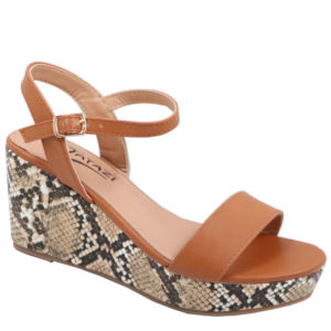 Tatazi Ladies Snake Wedge Sandal Tan