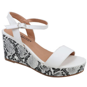 Tatazi Ladies Snake Wedge Sandal White