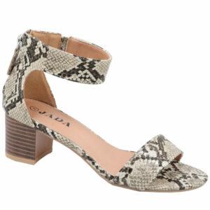 Jada Ladies Heel Sandal with Tassel Detail Beige/Snake